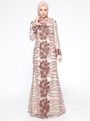 İşlemeli Abiye Elbise - Bakır Setrms