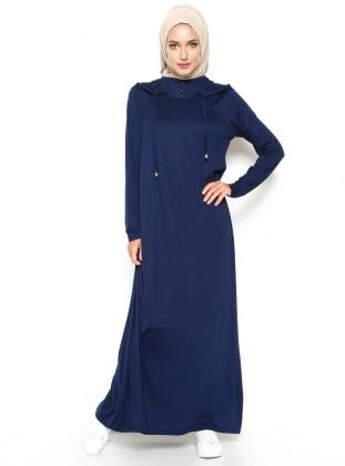 Kapüşonlu Elbise - Lacivert