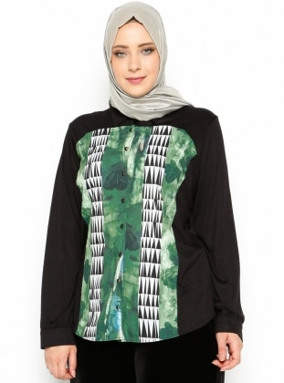Patterned Tunic - Green - Mor Menekse
