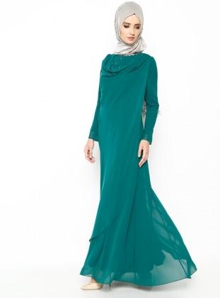İncili Abiye Elbise - Yeşil