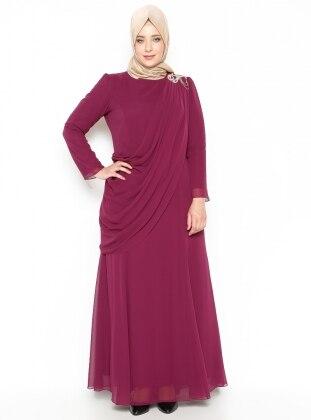Üzeri Tül Detaylı Omuzu Taşlı Abiye Elbise - Fuşya - Sevdem