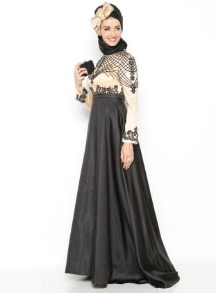 Boncuk İşlemeli Abiye Elbise - Siyah Setrms