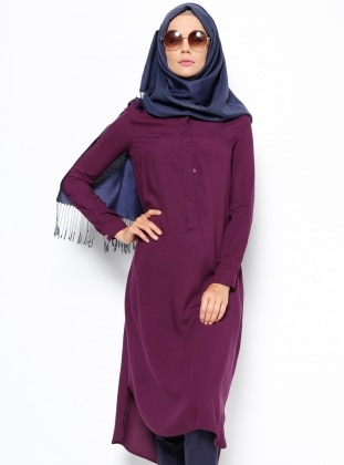 Purple - Button Collar - Tunic - Topless