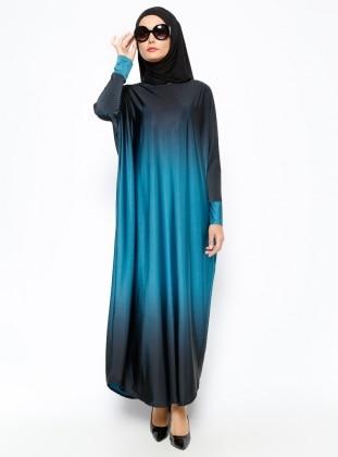 Yarasa Kollu Ferace Elbise - Petrol Topless