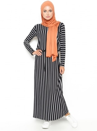 Striped Dress - Black - Dadali 219003
