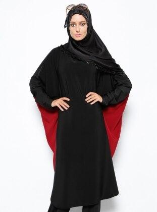 Yarasa Kollu Tunik - Siyah Bordo Arzu Ergen