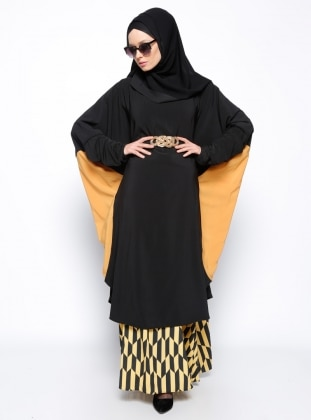 Yarasa Kollu Tunik - Siyah Hardal