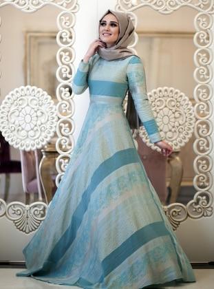 Minel Aşk Çizgisel Elbise - Mint