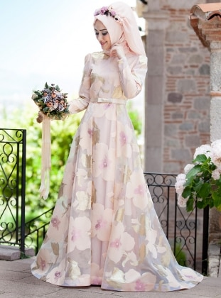 Orchid Evening Dress - Salmon - Minel Ask 220126