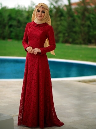 Zumra Evening Dress - Maroon - Minel Ask 220127
