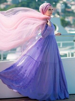 Pamuklu Elbise - Lila