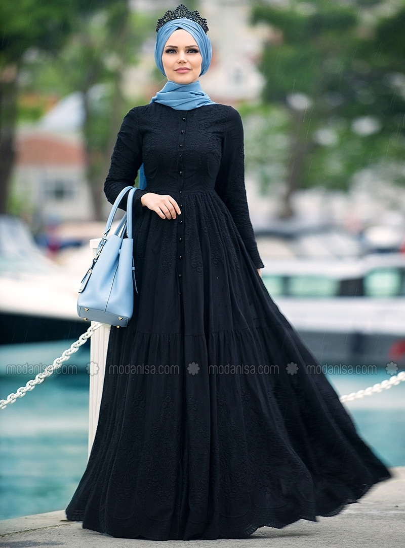 1db761e4eb71 Black - Crew neck - Fully Lined - Muslim Evening Dress