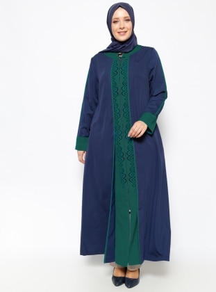 Fermuarlı Ferace - Lacivert Yeşil Peçem Ferace