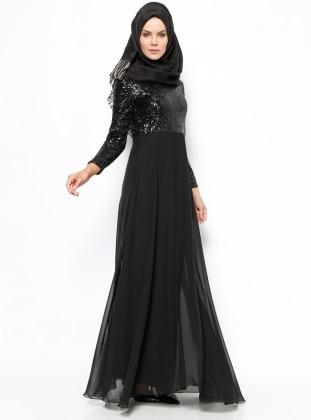 Payetli Abiye Elbise - Siyah Mileny