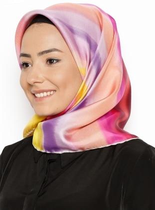Twill İpek Eşarp - Karışık Renkli Tilla İpek