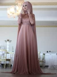 Caped Evening Dress - Copper