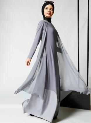 Şifon Parçalı Elbise - Gri