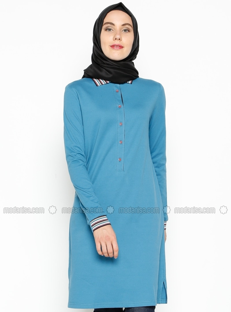 Button Detailed Tunic - Light Petrol