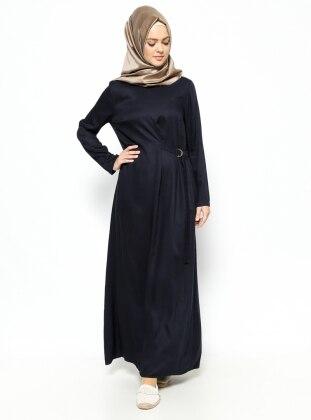 Beli Detaylı Elbise - Lacivert