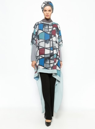 Loose Patterned Tunic - Green