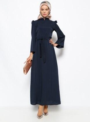 Düz Renkli Elbise - Lacivert