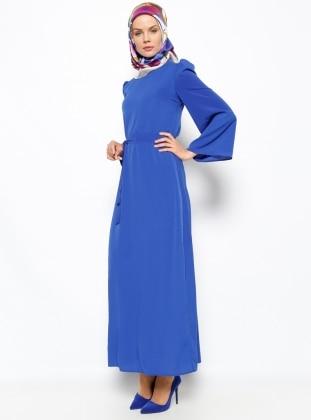 Düz Renkli Elbise - Saks