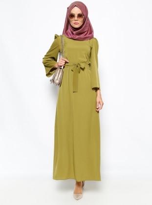 Düz Renkli Elbise - Yeşil