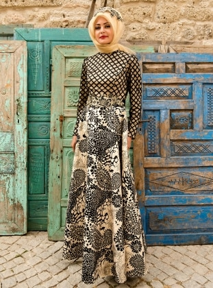 Muhteşem Abiye Elbise - Gold Siyah