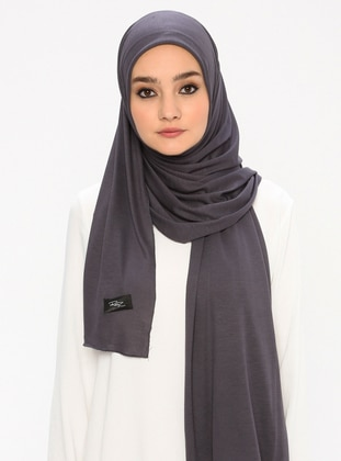 Combed Cotton Jersey Shawl - Viscose - Anthracite
