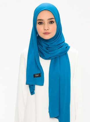 Combed Cotton Jersey Shawl - Viscose - Petrol