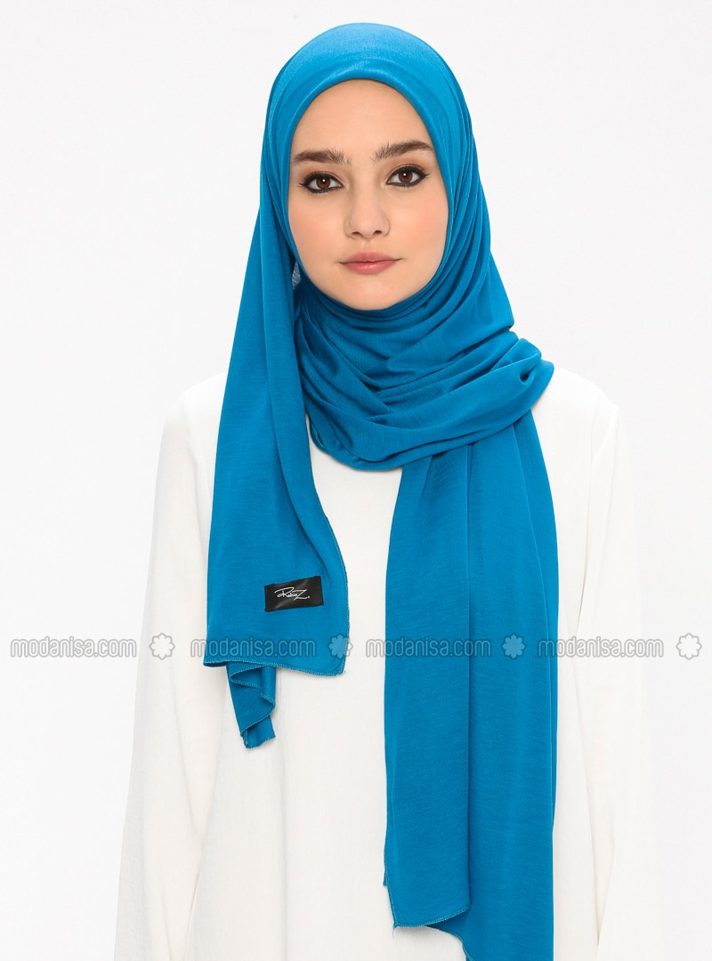 Combed Cotton Jersey Shawl - Petrol