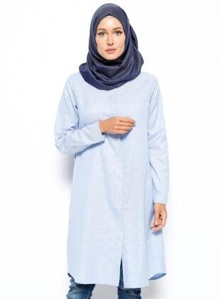 Düğmeli Tunik - Açık Mavi Dadali