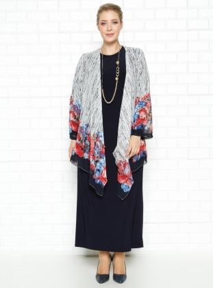 Şifon Ceket & Elbise Takım - Lacivert - he&de