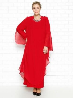 Yakası Taşlı Abiye Elbise - Kırmızı - he&de