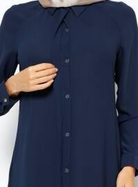 Hidden Button Tunic - Navy Blue