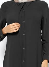Hidden Button Tunic - Black