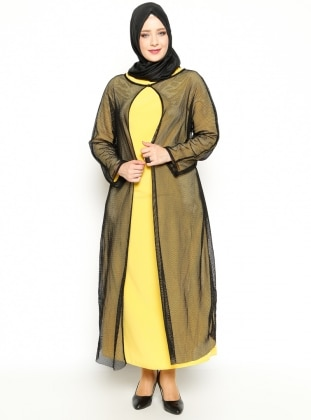 File Hırka İkili Elbise - Sarı - Vivezza