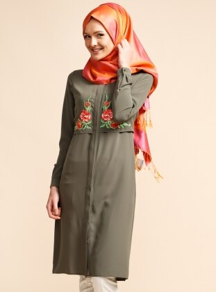 Embroidered Tunic - Green - Puane 224423