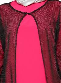 Mesh Detailed Cardigan & Dress - Fuchsia - Vivezza