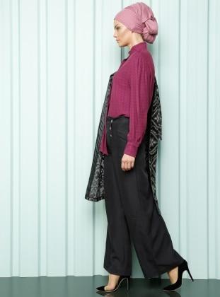 Luvice Kupra Kumaş Pantolon - Siyah