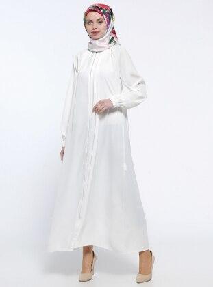 Fermuarlı Ferace - Beyaz