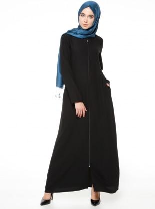 Fermuarlı Ferace - Siyah ModaNaz