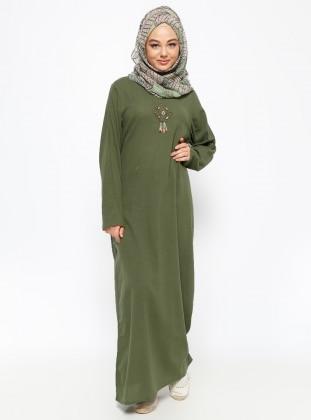 Printed Gauze Dress - Khaki - Cikrikci