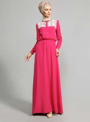 Guipure Detailed Dress - Fuchsia - ULVIYE PORTAKAL