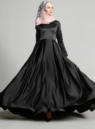 Pile Detaylı Abiye Elbise - Siyah Ulviye Portakal
