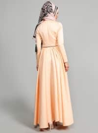 Belted Evening Dress - Salmon - ULVIYE PORTAKAL