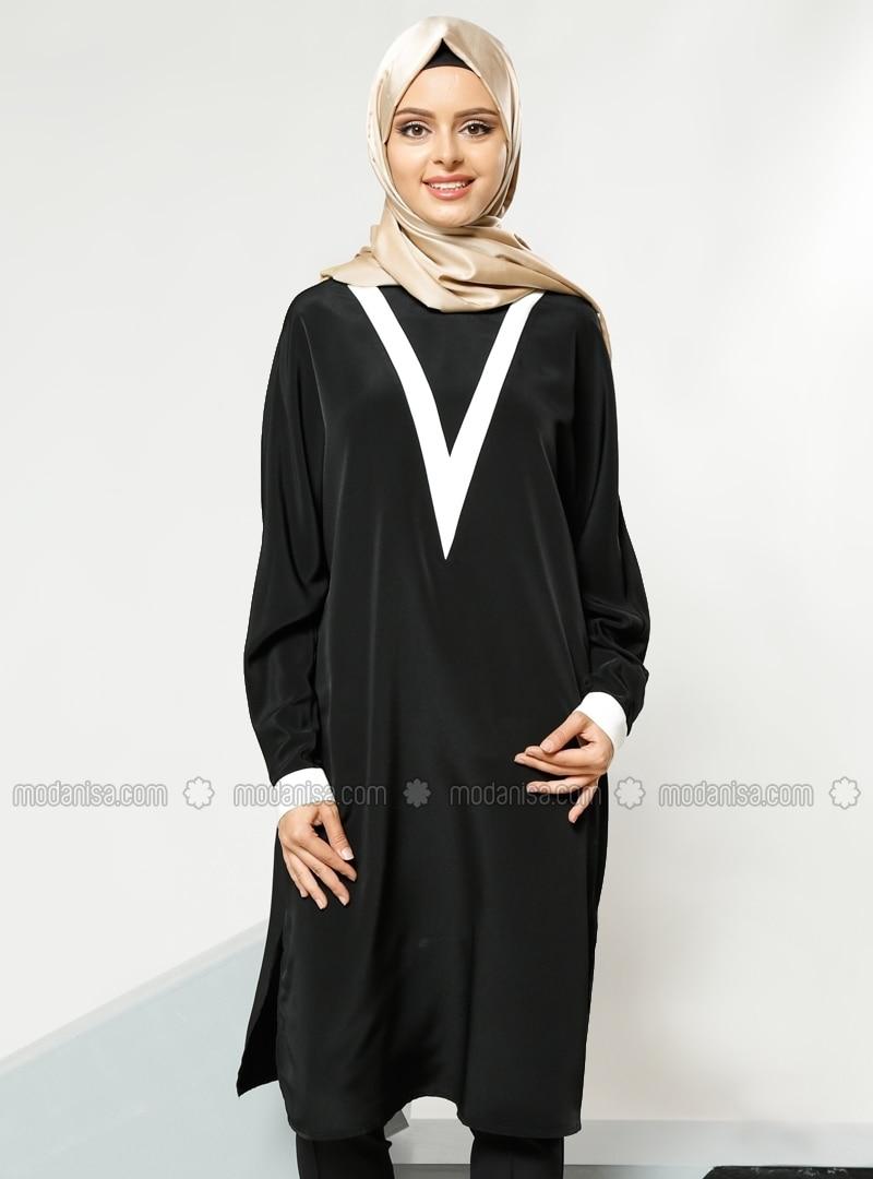 0fcb6d16430 Bat Sleeve Tunic - Black - Refka. Fotoğrafı büyütmek için tıklayın