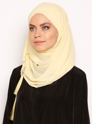 Yellow - Plain - Pinless - Instant Scarf