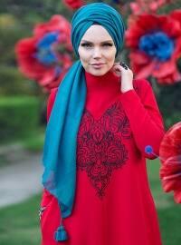 Queen Püsküllü Şal - Petrol Yeşili - Muslima Wear