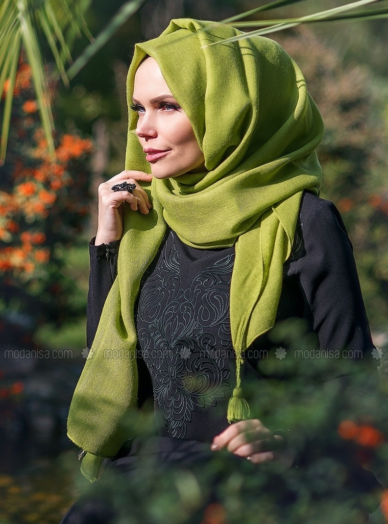 Fringe - Plain - Green - Shawl
